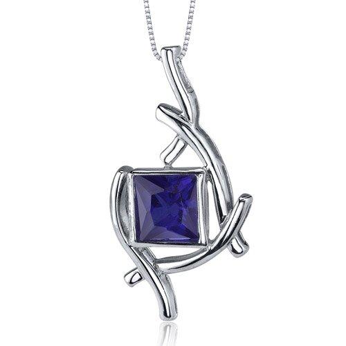 Artistic Design 2.25 Carats Princess Cut Blue Sapphire Pendant in Sterling Silve