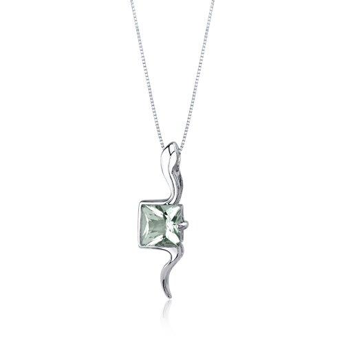 Oravo Vivid Grace 1.50 Carats Princess Cut Green Amethyst Pendant in Sterling Silve