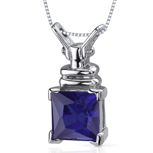 Boldly Regal 3.25 Carats Princess Cut Blue Sapphire Pendant in Sterling Silve