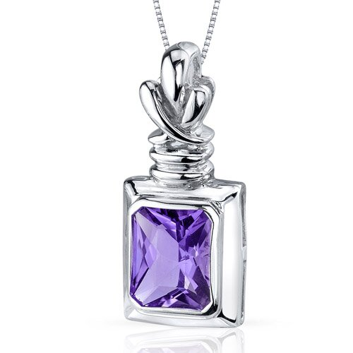 Marvelous 2.00 Carats Radiant Cut Amethyst Pendant in Sterling Silve