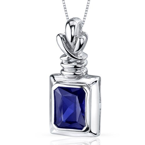 Marvelous 3.00 Carats Radiant Cut Blue Sapphire Pendant in Sterling Silve