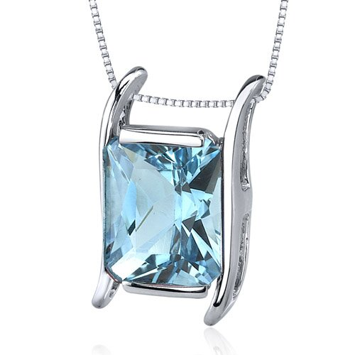 Oravo Striking Colo3.50 Carats Radiant Cut Swiss Blue Topaz Pendant in Sterling Silve