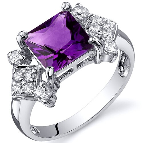 Oravo Princess Cut 2.25 Carats Cubic Zirconia Ring in Sterling Silver