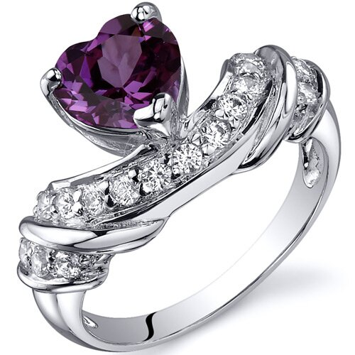 Oravo Heart Shape 1.75 carats Cubic Zirconia Ring in Sterling Silver