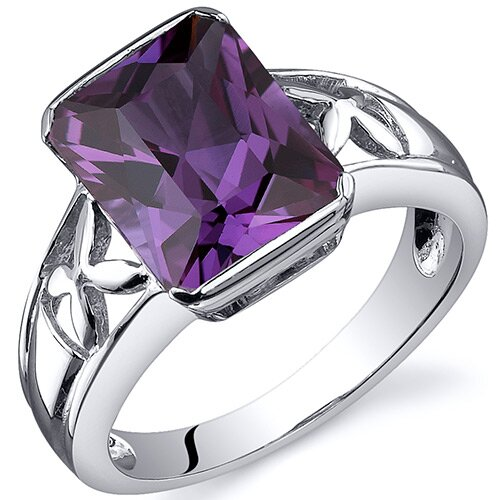 Oravo Large Radiant Cut 4.25 carats Solitaire Ring in Sterling Silver