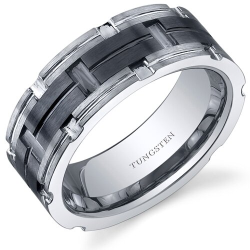 Brushed Finished Mosaic Design Center Black Band 7mm Comfort Fit Mens Tungsten Carbide Wedding ...