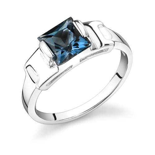 2.00 Carats Princess Cut London Blue Topaz Ring in Sterling Silver