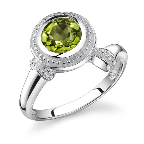 1.50 Carats Round Cut Peridot Ring in Sterling Silver