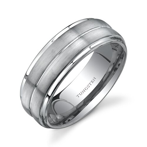 Flat Edge Brush Finish 8 mm Comfort Fit Mens Tungsten Wedding Band Ring