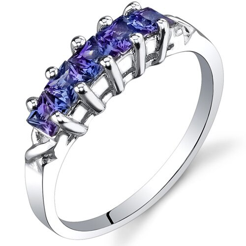 5 stone 1.00 carats Princess Cut Alexandrite Ring in Sterling Silver