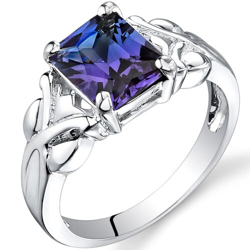 2.75 carats Radiant Cut Alexandrite Ring in Sterling Silver