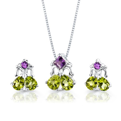 Oravo 5.00 cts Princess Amethyst Pear Peridot Pendant Earrings in Sterling Silver Free 18 inch Necklace