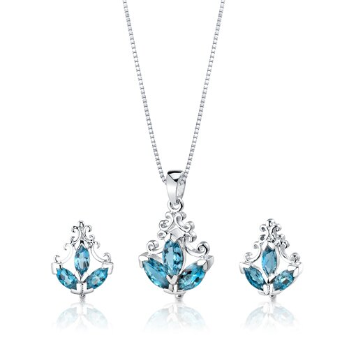 3.75 cts Marquise Cut London Topaz Pendant Earrings in Sterling Silver Free 18 inch Necklace ...