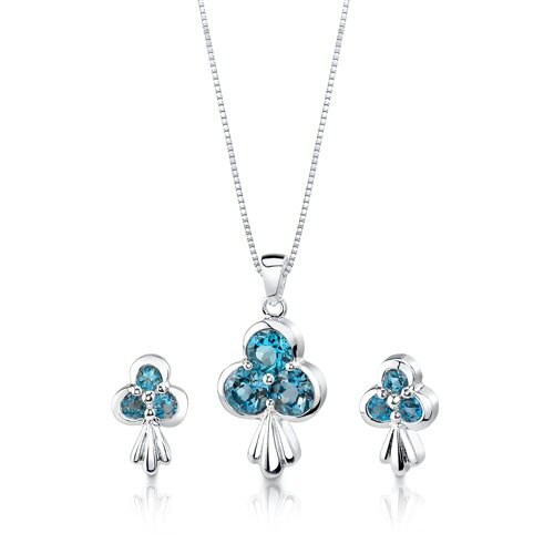 2.75 cts Round Cut London Blue Topaz Pendant Earrings in Sterling Silver Free 18 inch ...