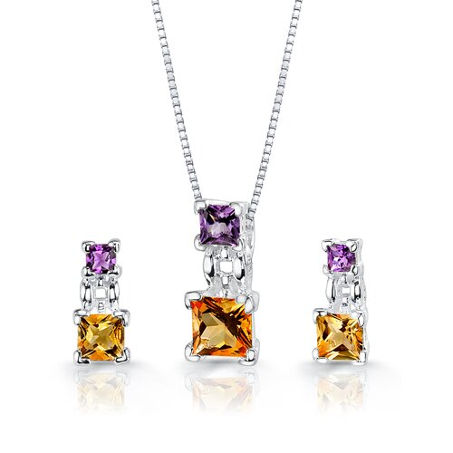 Oravo Princess Cut Gemstone Pendant Earrings in Sterling Silver with 18 inch Necklace