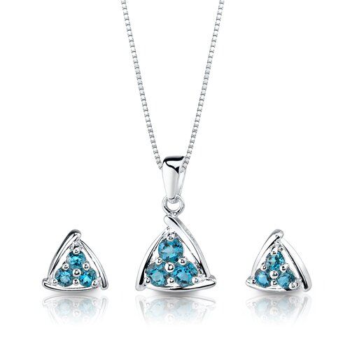 1.75 cts Round Shape London Topaz Pendant Earrings in Sterling Silver Free 18 inch Necklace ...