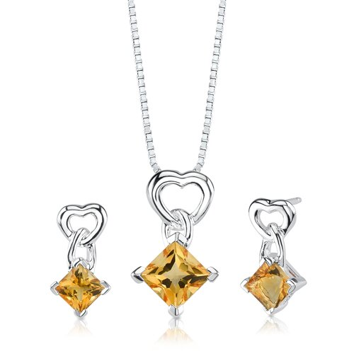 Oravo 2.50 cts Princess Cut Citrine Pendant Earrings in Sterling Silver Free 18 inch Necklace