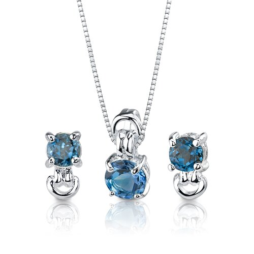3.00 cts Round Cut London Blue Topaz Pendant Earrings in Sterling Silver Free 18 inch ...