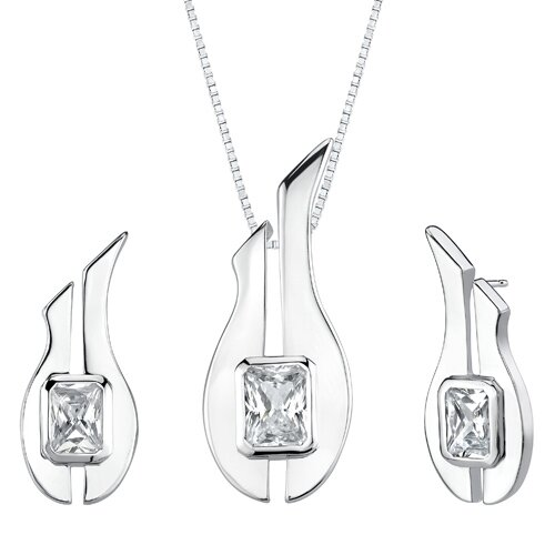 "Oravo 1.13"" Radiant Cut Pendant Earrings Set in Sterling Silver"