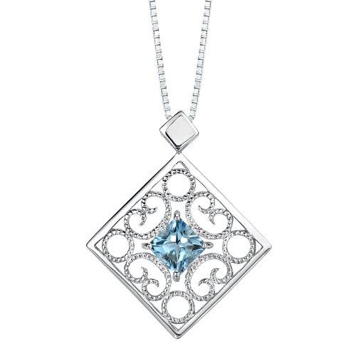Oravo 3.50 carats Princess Cut Swiss blue Topaz Pendant Earrings Set in Sterling Silver