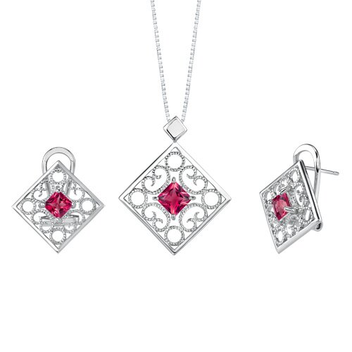 Princess Cut Gemstone Pendant Earrings Set in Sterling Silver