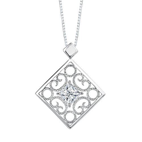 Oravo Princess Cut White Cubic Zirconia Pendant Earrings Set in Sterling Silver