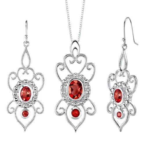 Oravo 5.50 carats Oval and Round Shape Garnet Pendant Earrings Set in Sterling Silver