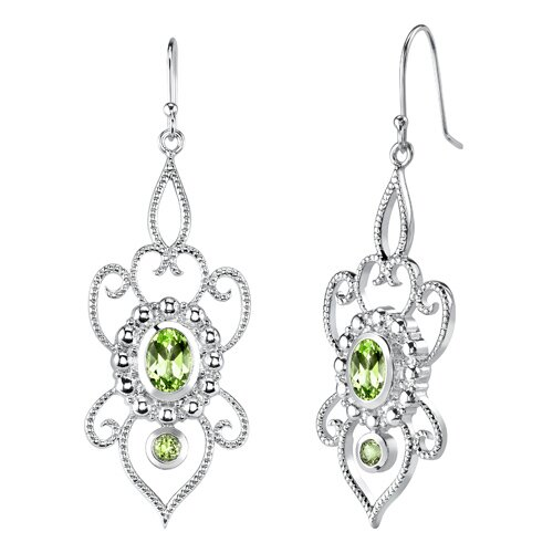 Oravo 4.25 carats Oval and Round Shape Peridot Pendant Earrings Set in Sterling Silver