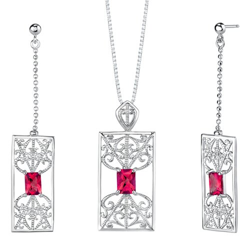 "Oravo 2.5"" Radiant Cut Ruby Pendant Earrings Set in Sterling Silver"