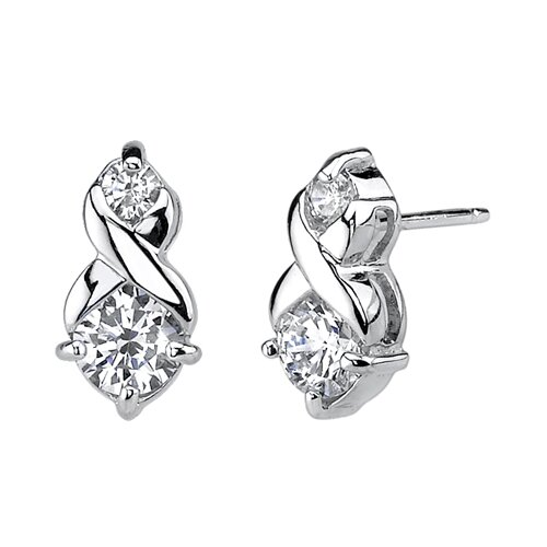 Oravo Infinitely Sophisticated Sterling Silver Designer Inspired Bridal Jewelry Earring Pendant with Cubic Zirconia