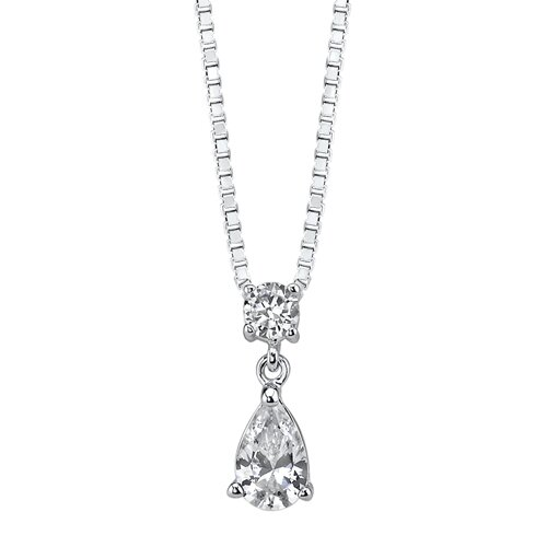 Oravo Inspired Elegance Sterling Silver Celebrity Inspired Bridal Jewelry Teardrop Style Pear-shape CZ Earring Pendant Set