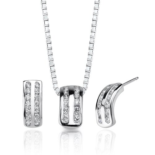 Classic Beauty Sterling Silver Celebrity Inspired Bridal Jewelry Earring Pendant Set with Cubic ...