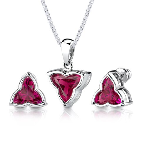 Ultimate Delight 10.50 carat Tri Flower Cut Ruby Pendant Earring Set in Sterling Silver