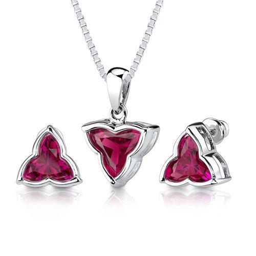 Oravo Ultimate Delight 10.50 carat Tri Flower Cut Ruby Pendant Earring Set in Sterling Silver