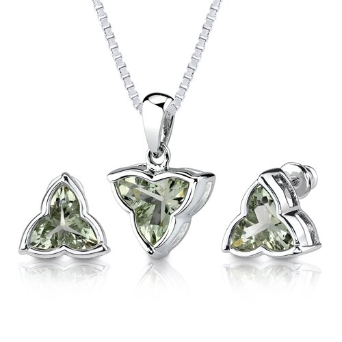 Oravo Ultimate Excellence 6.75 carat Tri Flower Cut Green Amethyst Pendant Earring Set in Sterling Silver