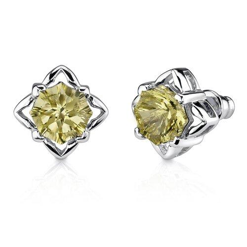 Oravo Exclusive Splendor 6.75 Carats Concave-Cut Snowflake Shape Lemon Quartz Pendant Earring Set in Sterling Silver