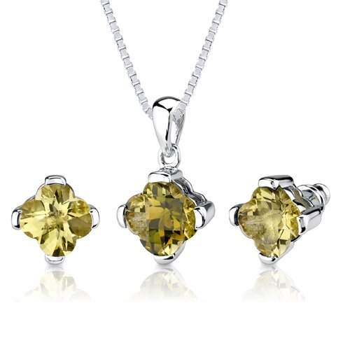 Classic Chic 6.00 Carats Checkerboard Lily Cut Lemon Quartz Pendant Earring Set in Sterling ...