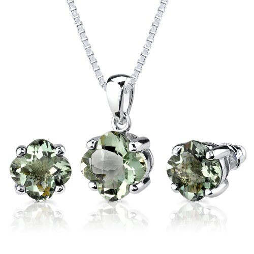 Oravo Classic Excellence 6.50 Carats Checkerboard Lily Cut Green Amethyst Pendant Earring Set in Sterling Silver