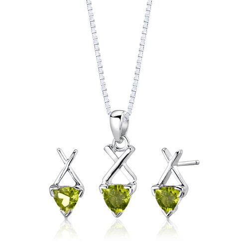 Sterling Silver Trillion Cut Gemstone Pendant Earrings and 18