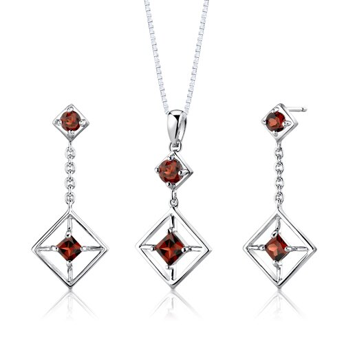 Sterling Silver 3.00 Carats Multishape Garnet Pendant Earrings and 18