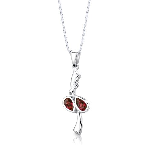 "Oravo Sterling Silver 2.00 Carats Pear Shape Garnet Pendant Earrings and 18"" Necklace Set"