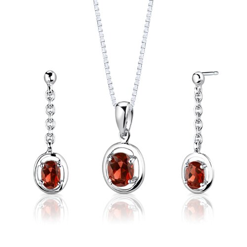 Sterling Silver 2.00 Carats Oval Shape Garnet Pendant Earrings and 18