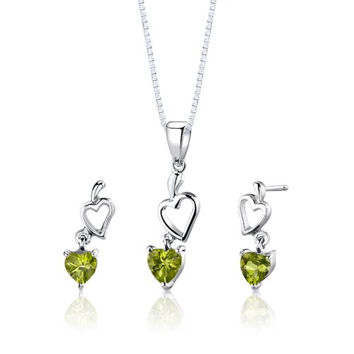 Sterling Silver Heart Shape Peridot Pendant Earrings and 18
