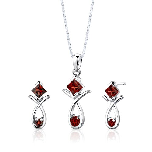 Sterling Silver 2.00 Carats Multishape Garnet Pendant Earrings and 18