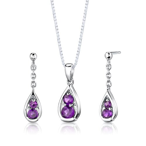 Sterling Silver 1.50 Carat Round Shape Gemstone Pendant Earrings and 18