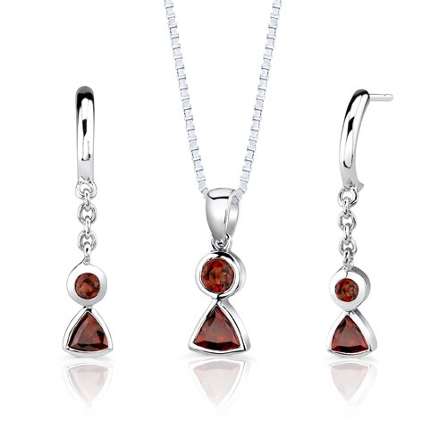 Sterling Silver 1.75 Carats Multishape Garnet Pendant Earrings and 18