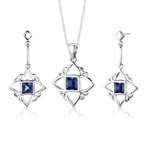 Sterling Silver Princess Cut Sapphire Pendant Earrings and 18