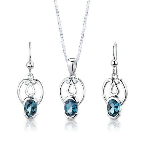 "Oravo Sterling Silver 2.00 Carat Oval Shape Gemstone Pendant Earrings and 18"" Necklace Set"
