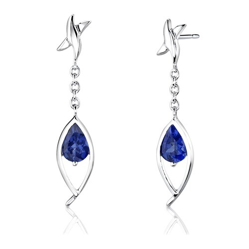 """Oravo Sterling Silver 2.25 Carats Pear Shape Sapphire Pendant Earrings and 18"""" Necklace Set"""