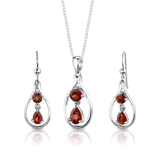 Sterling Silver 3.25 Carats Multishape Garnet Pendant Earrings and 18